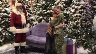 Watch Military Mom Surprise 12-Year-Old Son During Photo Shoot With Santa