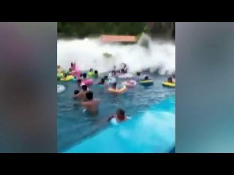 В аквапарке Китая пострадали 44 человека из-за искусственной волны.