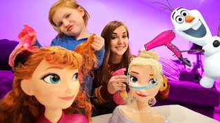 FROZEN 2 PRINCESS MAKEOVER!! Adley and Mom become Fairy Godmothers to help Disney Anna and Elsa!