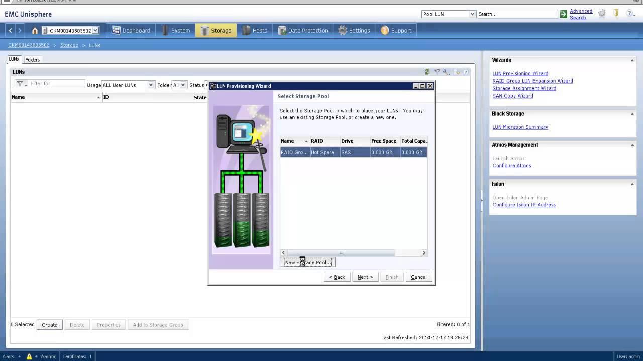 Learn to create LUN on EMC Unisphere in 90 seconds