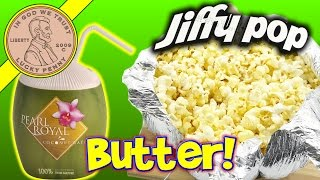 jiffy pop buttery popcorn with pearl royal coconut water drink