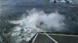 Navy CH-46 Helicopter Misses Landing Deck at Sea, Crashes