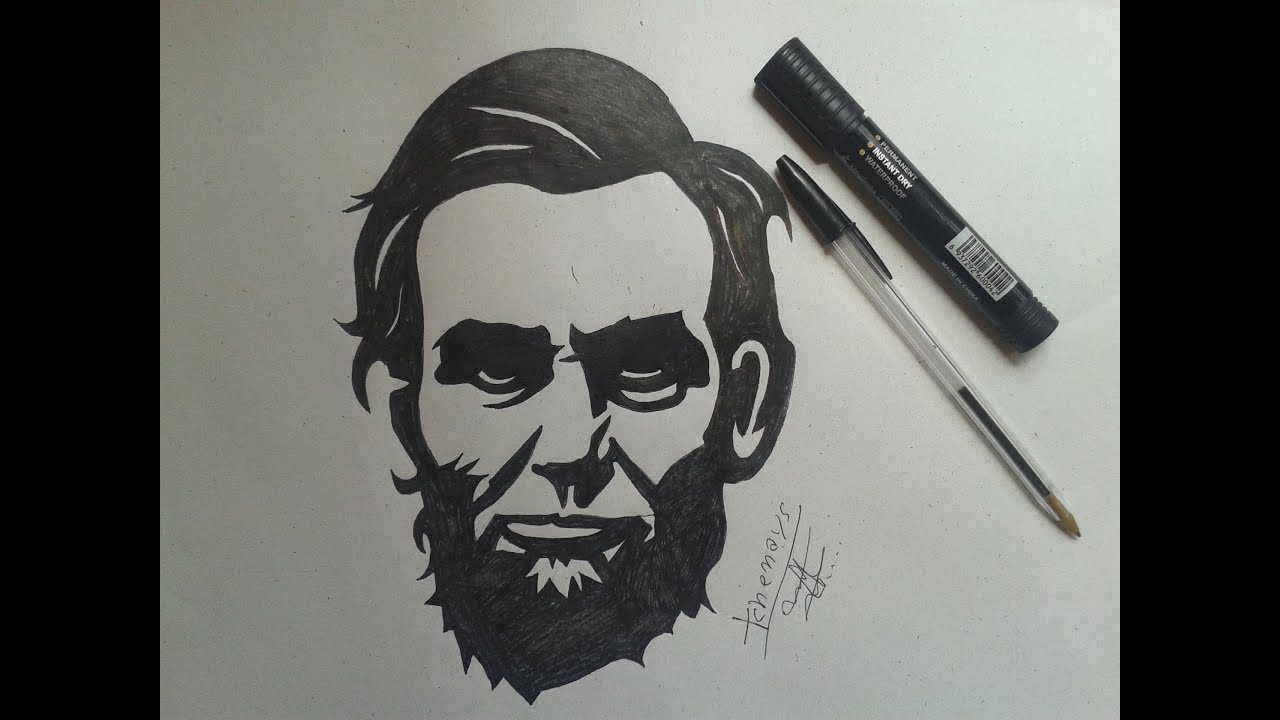 How To Draw Abraham Lincoln Tatoo طريقة رسم الرئيس الامريكي Youtube