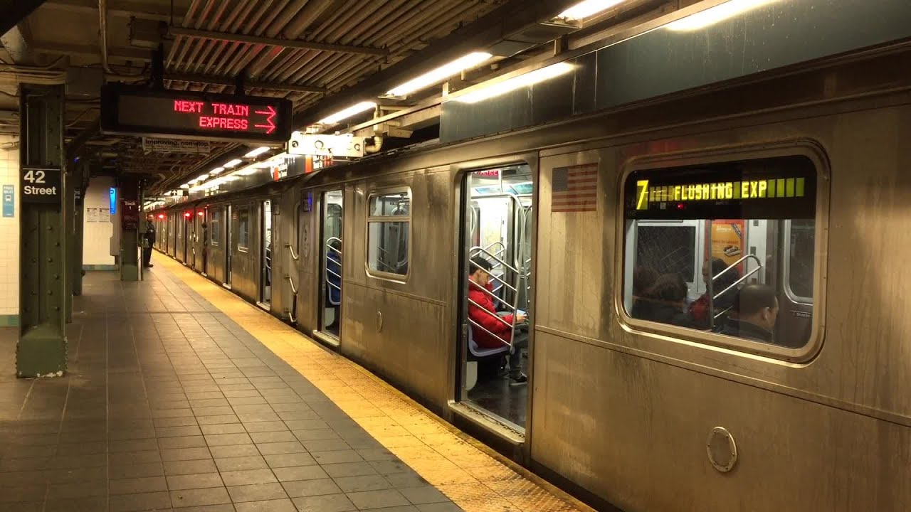 nyc subway: rush hour at times square station - youtube