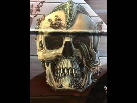 Auto Airbrush Painting by Ed Beard Jr 1978 Chevy Van Pirate Theme