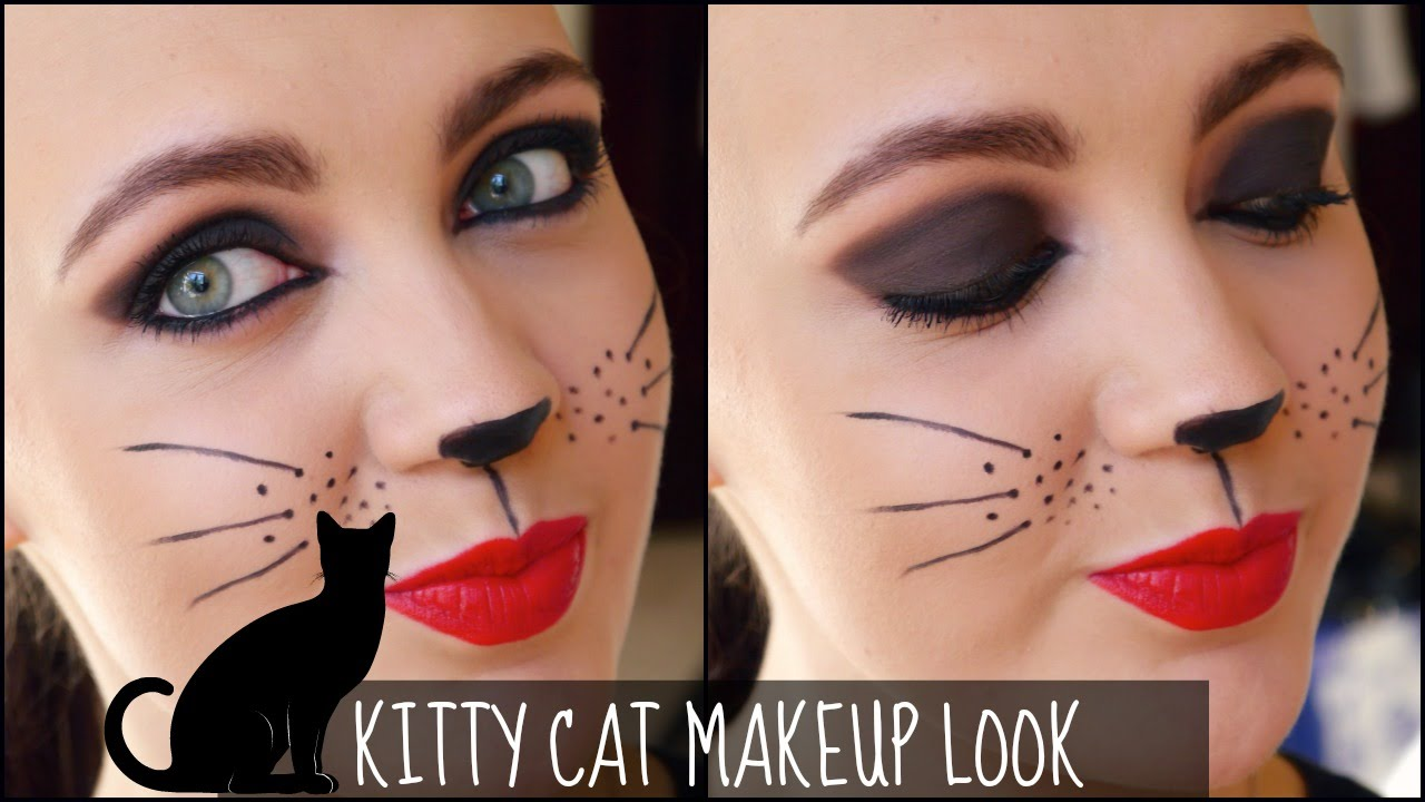 Kitty Cat Makeup Tutorial for Halloween - YouTube