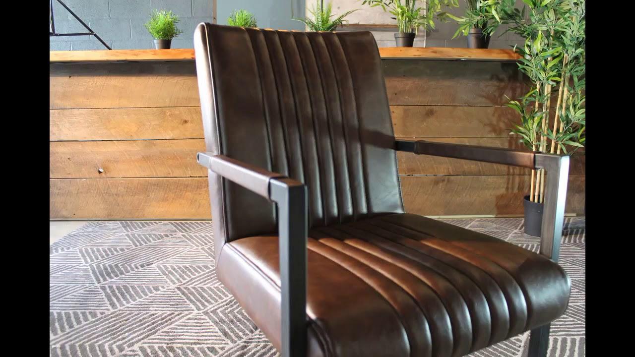 CALEB Industrial Armchair Vintage Brown Leather