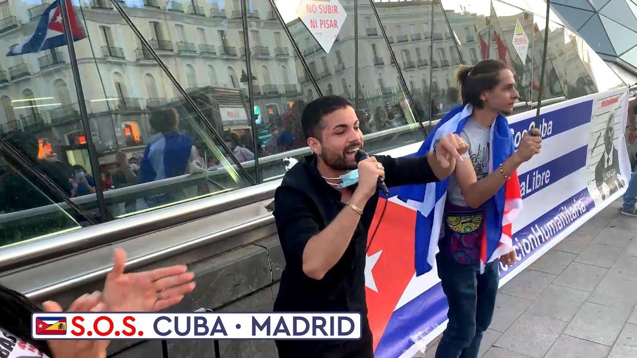 """🇪🇸❤️🇨🇺 """"¿Dónde están las feministas?"""" - preguntan los cubanos en la manifestación SOS Cuba Madrid"""