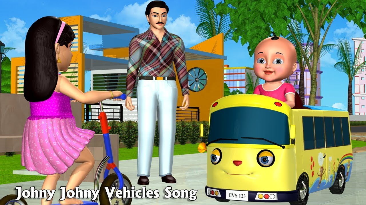 Johny Johny Yes Papa Nursery Rhyme | Part 6 - 3D Vehicles Rhymes & Songs for Children