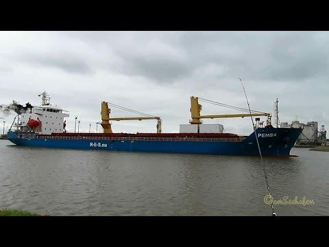 cargo crane seaship PEMBA ex BBC THAILAND V2DT6 IMO 9504267 inbound Emden amidst rich ship traffic