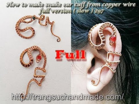 How to make snake ear cuff from copper wire - full version (