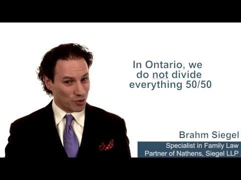 How is property divided between two spouses in a divorce in Ontario?