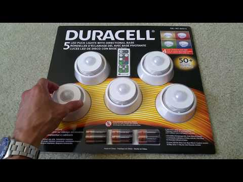 Unboxing DURACELL 5 LED PUCK LIGHTS With Remote 4 Color Dimmable  Collection! Full HD 2017