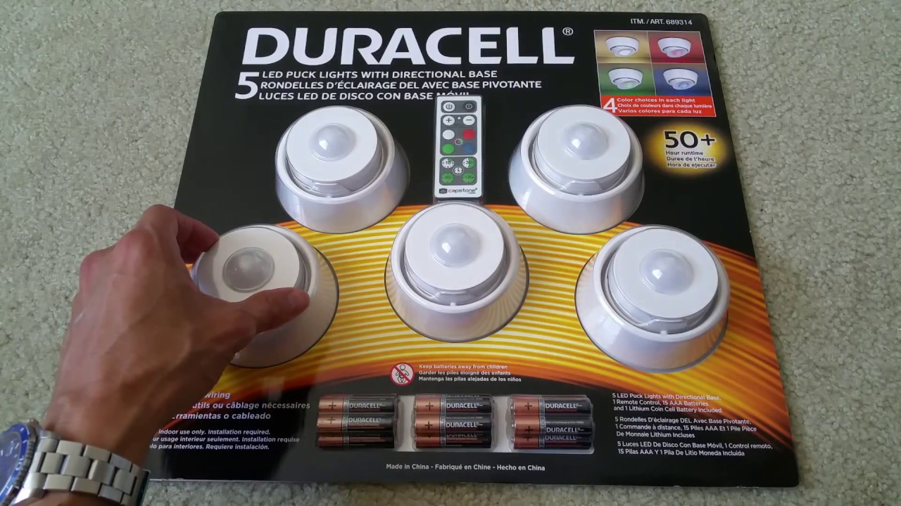 Delicieux Unboxing DURACELL 5 LED PUCK LIGHTS With Remote 4 Color Dimmable  Collection! Full HD 2017