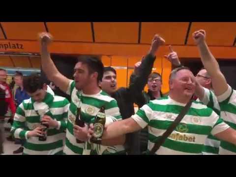 Celtic fans celebrating in Munich: Bayern München v Celtic Champions League game