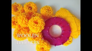How to Make Quick Woolen Flowers Using Stencil- Tutorial in Hindi English