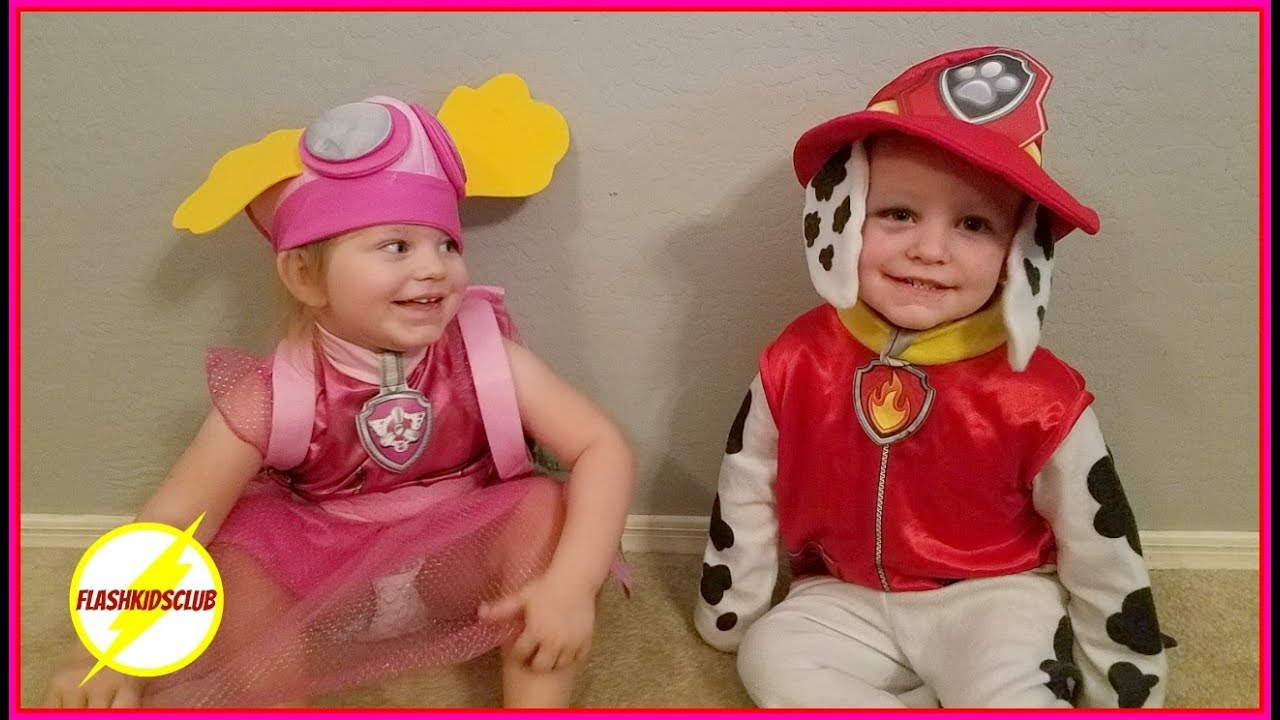 layton gets her halloween costume toddler twins love paw patrol family vlog