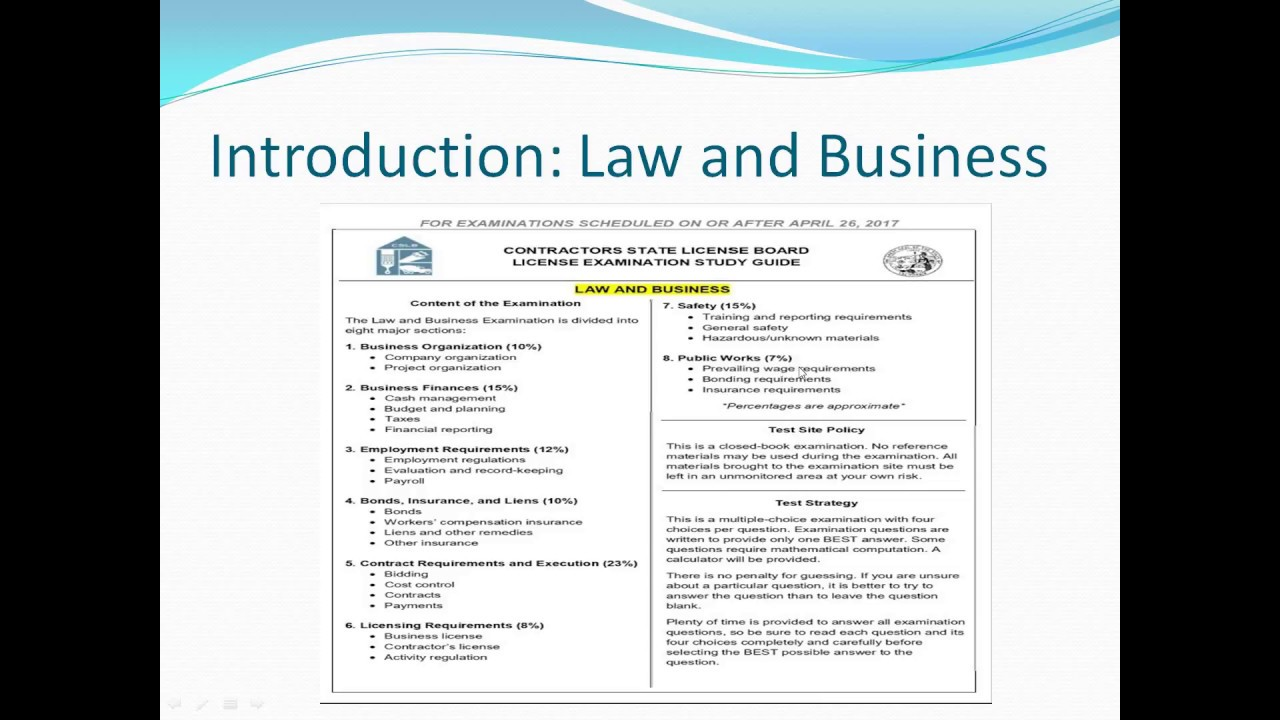 California Law and Business Study Guide Part 1 Introduction