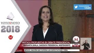 Margarita Zavala, destaca propuestas en debate presidencial