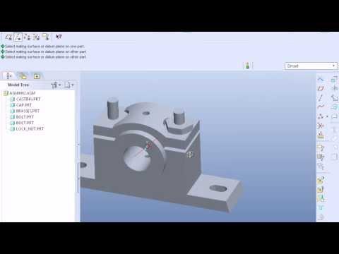 Pro e(Pro Engineer) Plummer Block Assembly Tutorial easy
