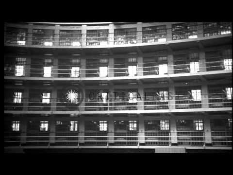 A model Penitentiary in the United States. Prisoners are released from their cell...HD Stock Footage