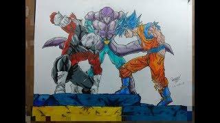 como dibujar a goku ssj blue vs hit vs jiren/ how to draw goku