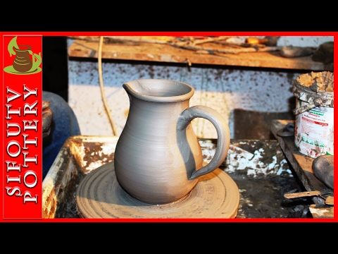 Pottery throwing - How to Make a Pottery Jug for wine #7