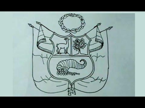Aprende A Dibujar Fácil El Escudo Nacional Del Perú Youtube