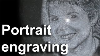 Portrét do žuly (portrait in granite, diamond point pen, handmade)