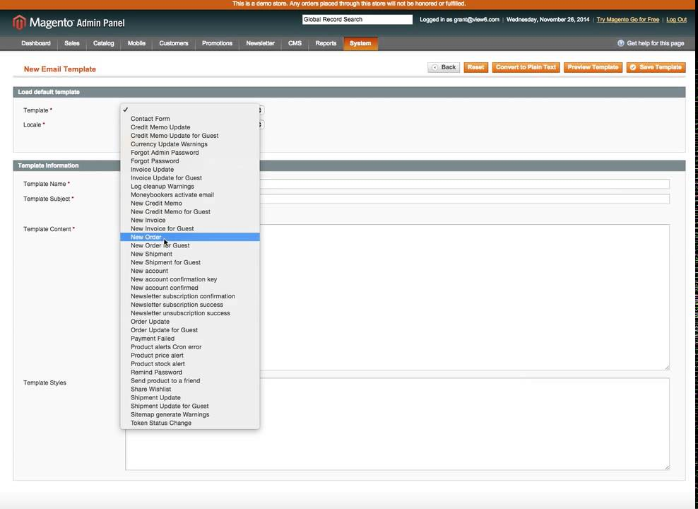 Using Magento Custom Variables in eMail Templates - YouTube