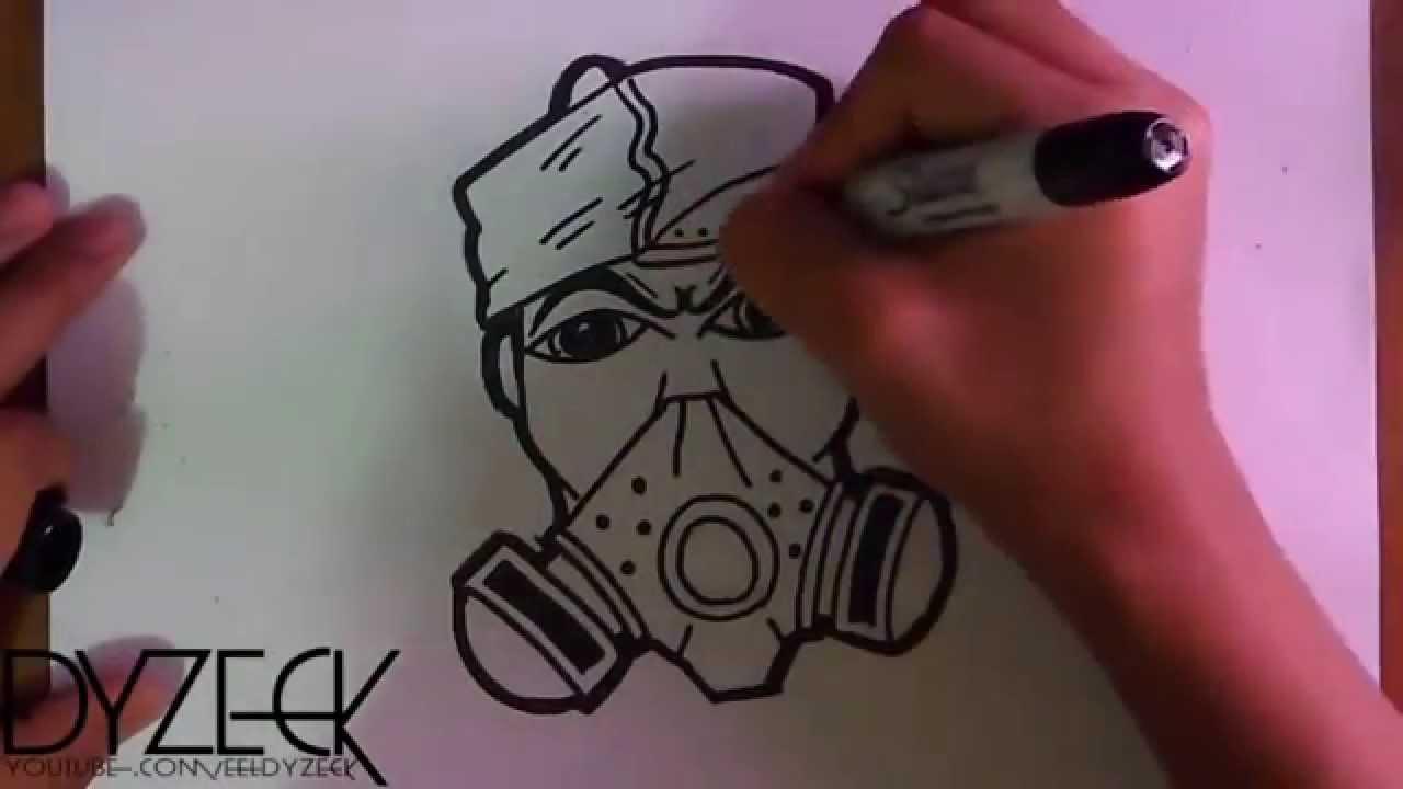 dessin d 39 un caract re de masque gaz avec peinture tain graffiti youtube. Black Bedroom Furniture Sets. Home Design Ideas