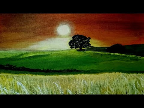 Acrylic Painting- Sunset Landscape