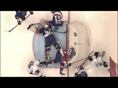 Andrew MacDonald goal line save Feb 5 2013 Pittsburgh Penguins vs NY Islanders NHL Hockey