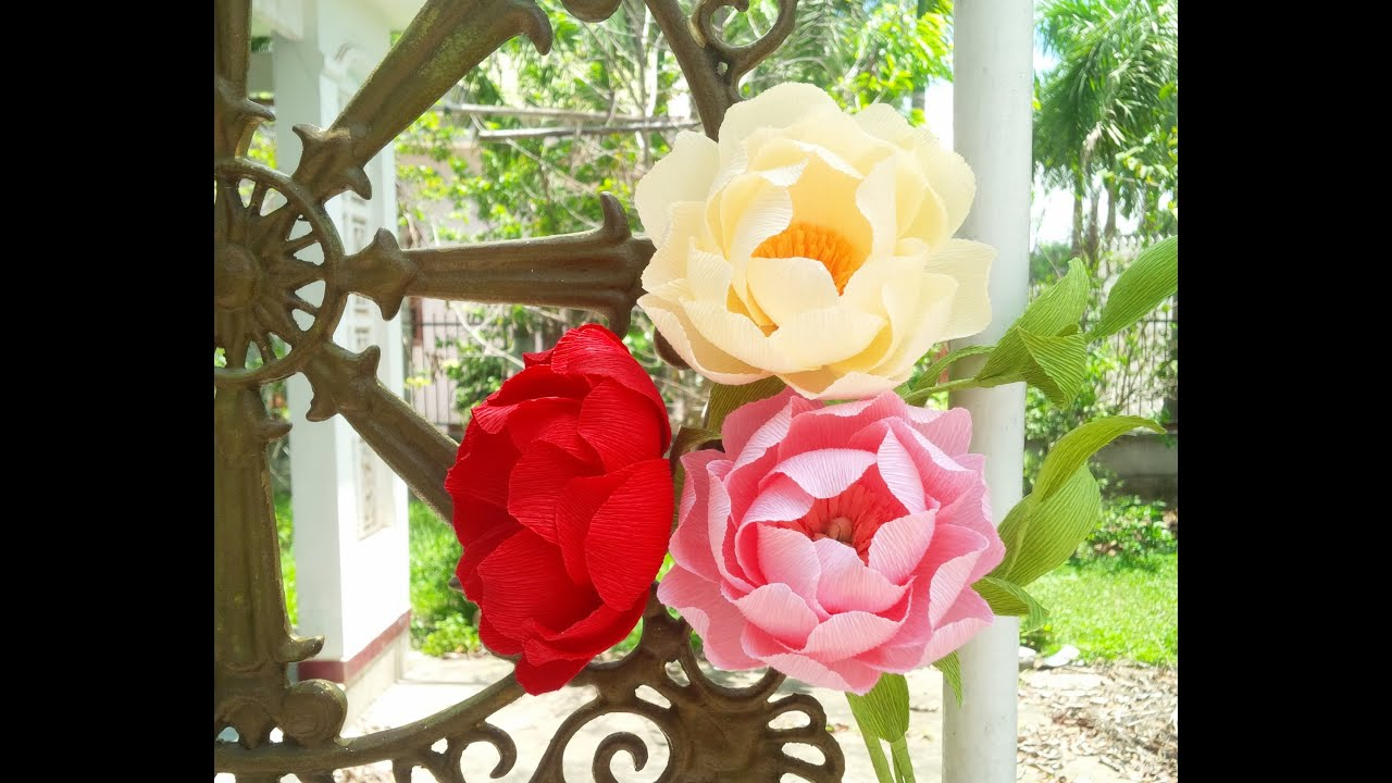 Peony With Crepe Paper Craft Tutorial Youtube