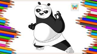 Как нарисовать По из мультика Кунг фу Панда Рисуем и Учим Цвета Coloring Kids