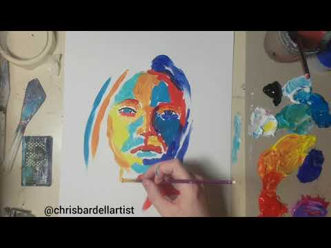 Abstract Painting Portrait  Demonstration, Art Tutorial with Acrylic Paints thumbnail