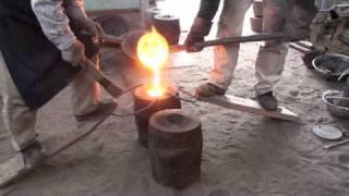茶道 茶釜の製作工程 鋳込み作業