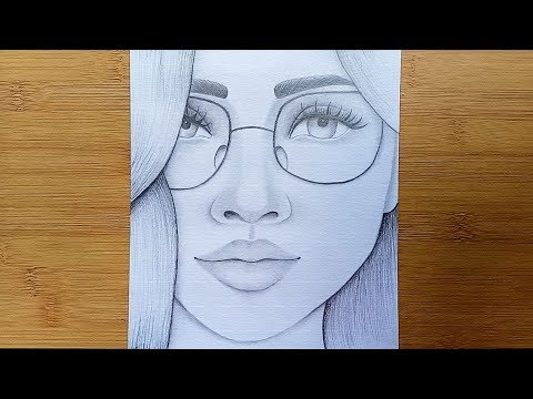 how-to-draw-a-girl-with-glasses-step-by-step//pencil-sketch