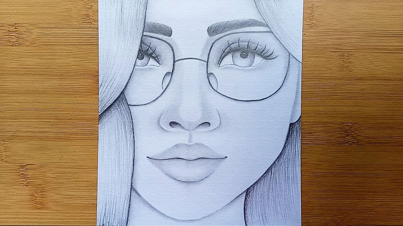 How To Draw A Girl With Glasses Step By Step Pencil Sketch