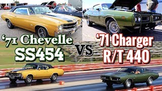 1971 Charger R/T 440 vs 1971 Chevelle SS454 Convertible - PURE STOCK DRAG RACE +history/specs