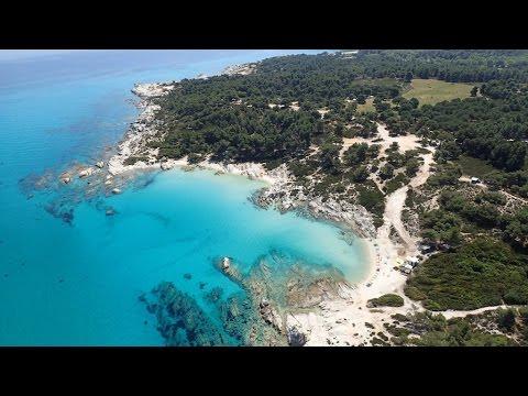 Greece, Sarti, Orange beach from the air.