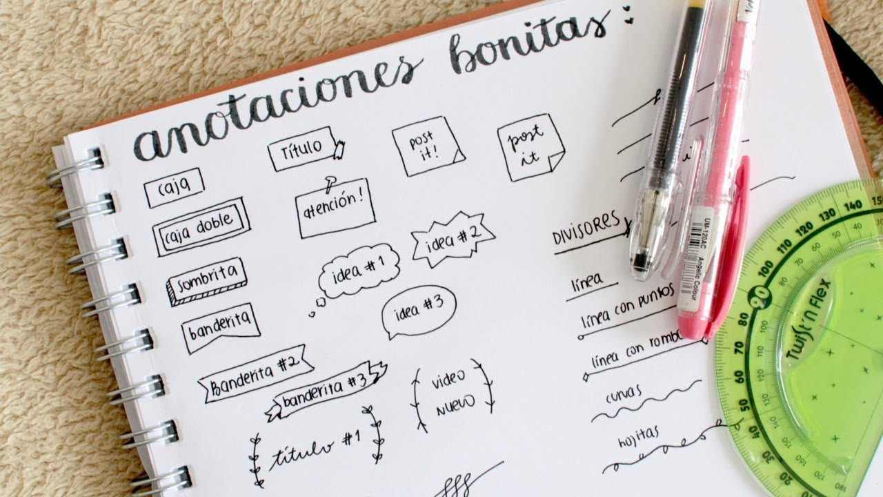 CÓMO HACER APUNTES BONITOS!! Aprende paso a paso | Valeria Basurco ...