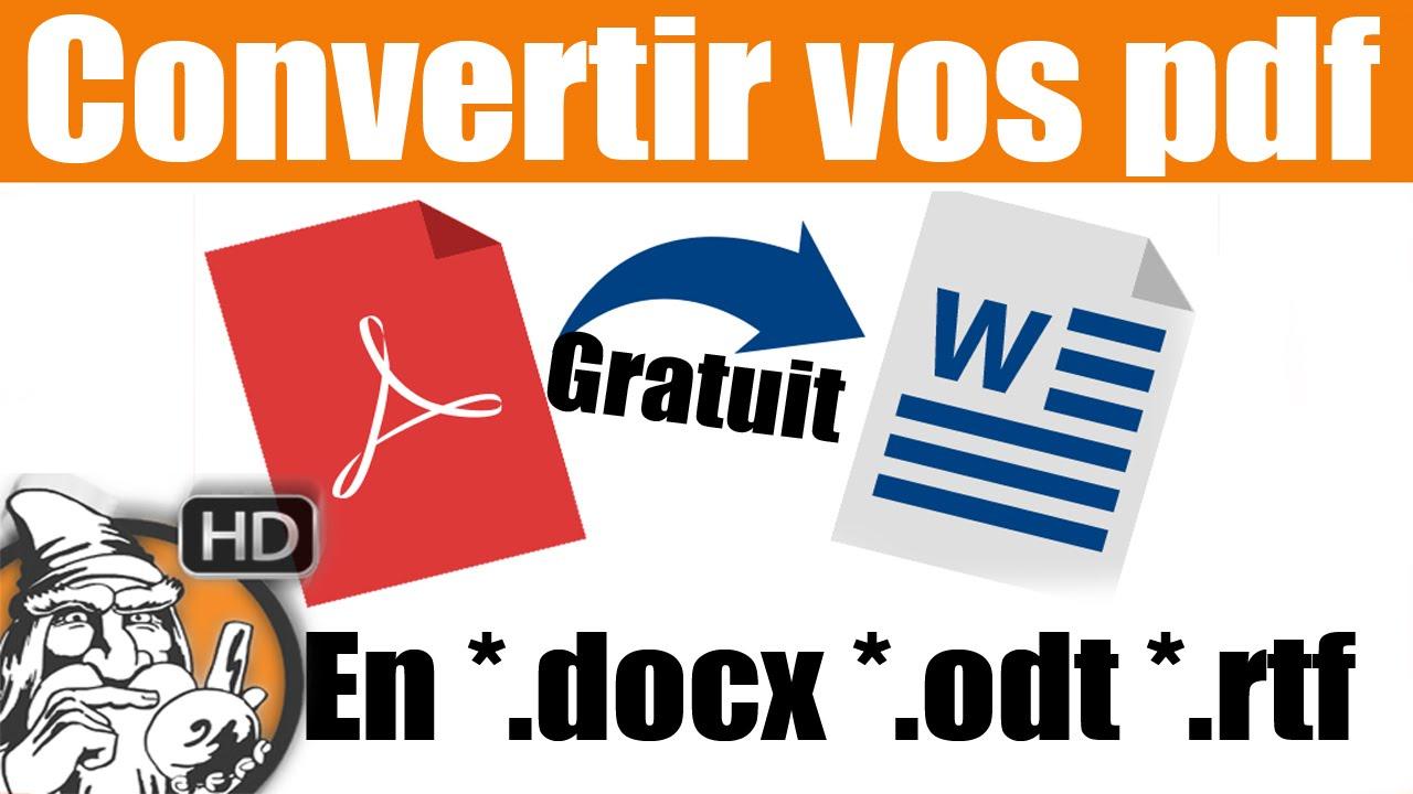 convertir un fichier pdf au format word gratuit