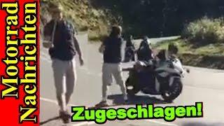 ZUGESCHLAGEN Wanderer schlägt fahrende Motorradfahrer mit Stock ANGRY PEOPLE | Motorrad Nachrichten