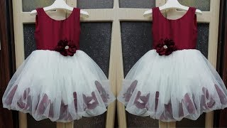 Beautiful flower dress with bubble hem for 5 year girl cutting and stitching