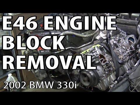 BMW E46 Bottom End Engine Block Removal #m54rebuild 13