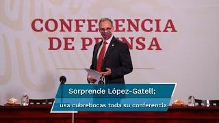 El subsecretario usó todo el tiempo el cubrebocas durante el informe de Covid-19 en México, con el fin de recordar a la población que sirve como medida de prevención