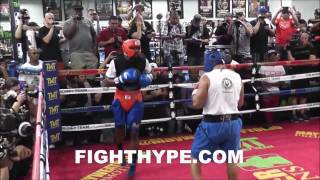 FLOYD MAYWEATHER SPARRING 9-MINUTE ROUNDS AHEAD OF ANDRE BERTO SHOWDOWN