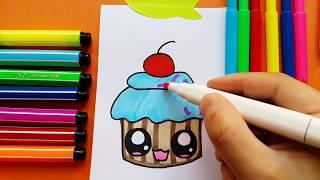 Learn To Draw Cute Cupcake Kawaii