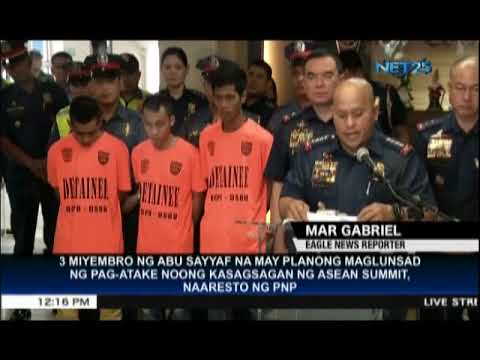 PNP presents 3 arrested Abu Sayyaf members who planned to attack 31st ASEAN Summit